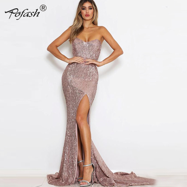 e71eaf5f1e POFASH Sexy Pink Shiny Sequin Maxi Party Dress Off Shoulder Long Lining Low  Cut Floor Length
