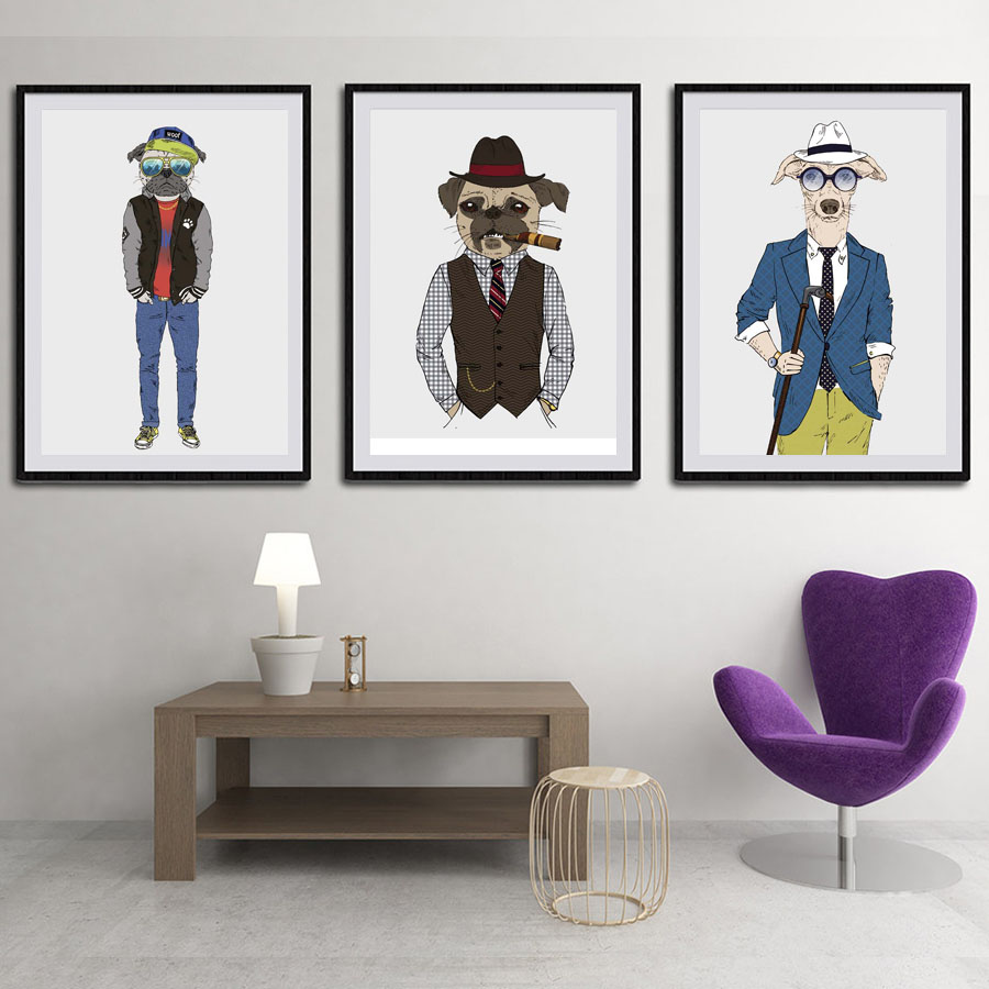 Modern Nordic Fashion Animals Dogs Canvas Painting A4 Art Prints Poster  Hippie Wall Pictures No Framed Office Home Decor