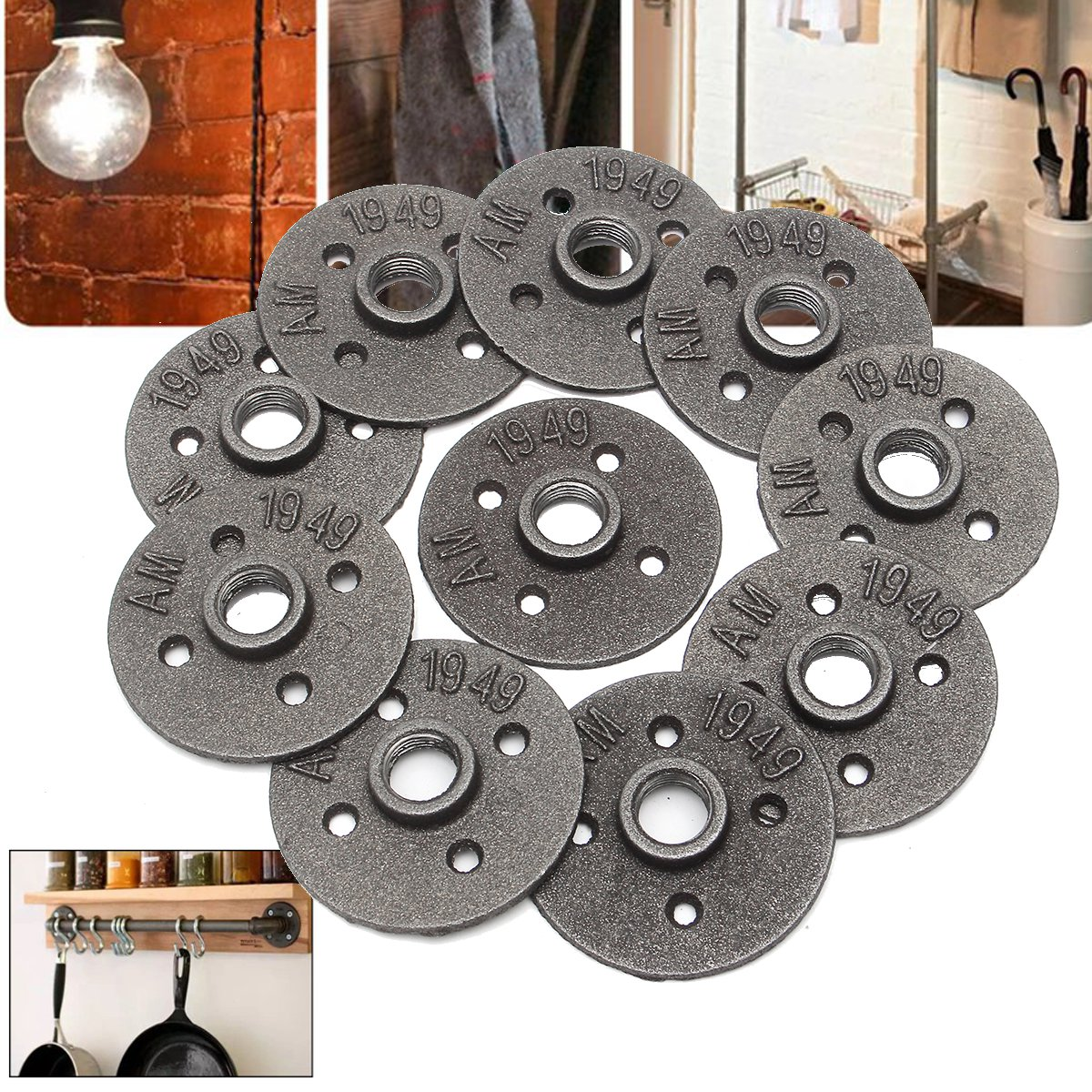 10Pcs 1//2-INCH Floor Flange Industrial Steel Malleable Cast Iron Pipe Fittings