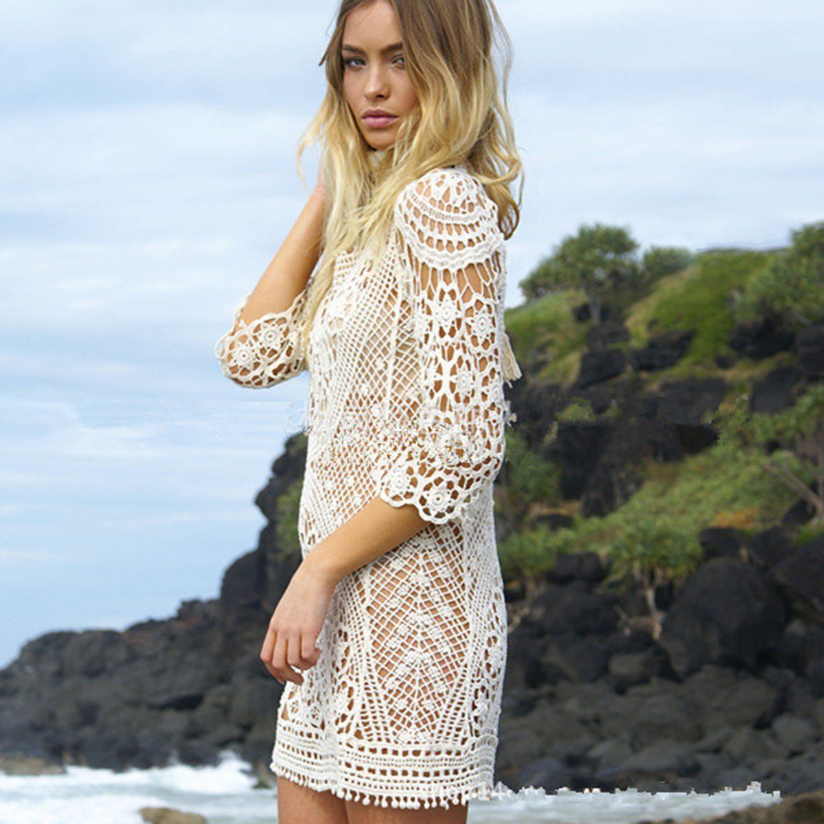 982278d455 Kobiety Mini sukienka lato plaża sukienka koronkowa