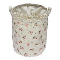 Zakka Hoa Màu Đỏ Cotton Đa chức năng Xử Lý Stackable lưu trữ thùng Giặt giỏ Đồ Chơi hộp Lưu Trữ P30