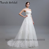 2015 Fashion Appliques Bow Sweetheart Long Wedding Dresses Elegant Sleeveless A Line Bridal Gowns Dress Real
