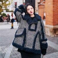 Винтажная Клетчатая Шерстяная меховая куртка женская овечья шерсть подкладка зимнее пальто 2019 высокое качество мода хит цвета дизайн женс