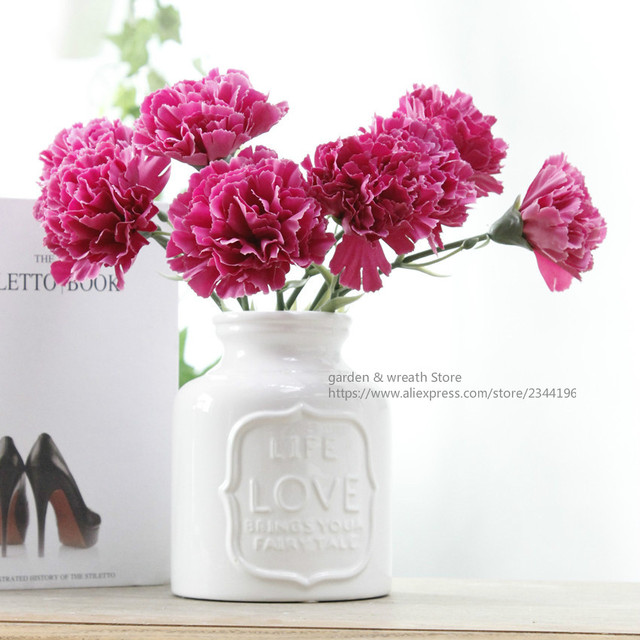 (purple red white pink yellow blue champagne) single carnation mother's day gift home wedding decoration table Centerpieces