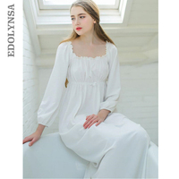 Women Sleepwear Long White Cotton Nightgown Womens Dresses Princess Vintage Indoor Clothing Comfortable Sleeping Dress #LL21