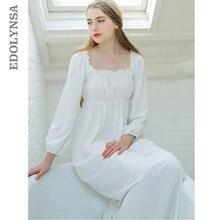 d5ca2c119 Mulheres Sleepwear Camisola De Algodão Branco Vestidos Das Mulheres Da  Princesa Do Vintage Roupa Interior Confortável Para Dormi.