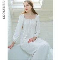 Women Sleepwear Long White Cotton Nightgown Womens Dresses Princess Vintage Indoor Clothing Comfortable Sleeping Dress #LL21