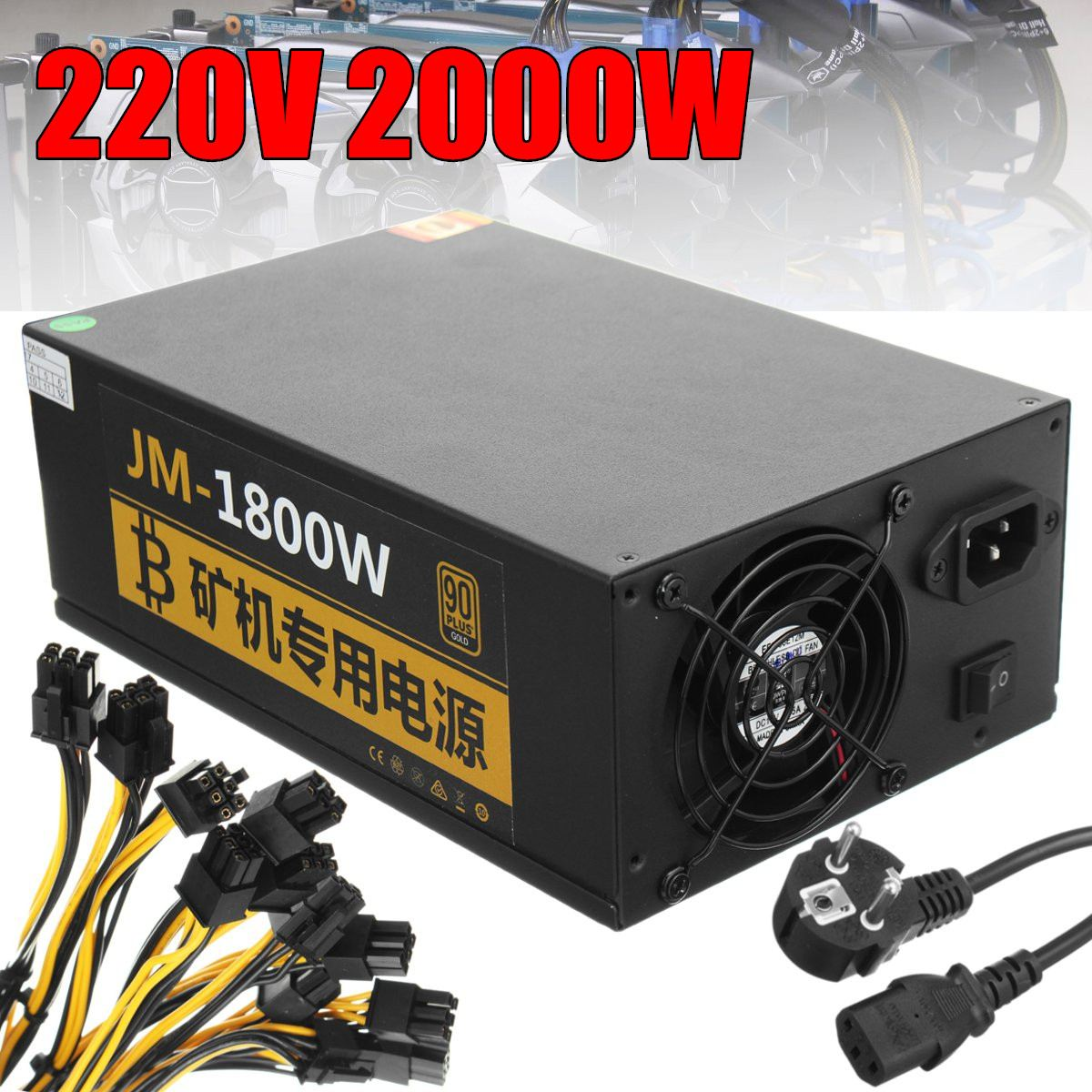 bitcoin new Gold power 220V 2000W PLUS BTC power supply ATX Mining Machine coin miner power все цены