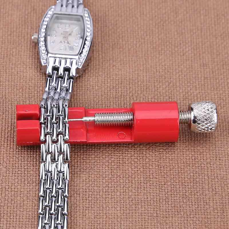 Watch Band Adjustable Remover Kit Metal Strap Bracelet Link Pin Repair Tool with Extra Pins Red Tools Set