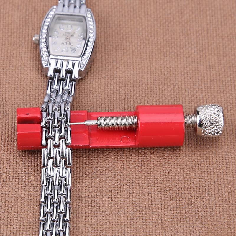 Watch Band Adjustable Remover Kit Metal Strap Bracelet Link Pin Repair Tool with Extra Pins Red Tools SetWatch Band Adjustable Remover Kit Metal Strap Bracelet Link Pin Repair Tool with Extra Pins Red Tools Set