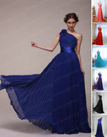 Wholesale Evening Dresses Formal Dresses Stock New Chffon A Line One Shoulder Pleated Flowers Size 4