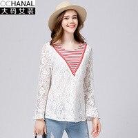 New Autumn Blusas Feminina Big Size Womens Clothing 5xl Leaf Long Sleeves Lace Stitching Shirt Camisas