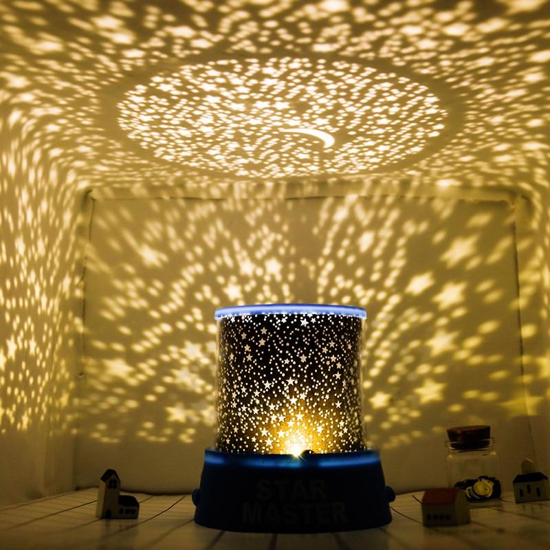 Led Creative Dream Romantic Starry Sky Rotating Star Projector Bedroom Star Moon Sleep Comfort Toy Children Luminous Toy Kid Gif