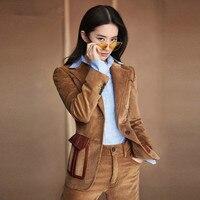 ACRMRAC Women suits Slim autumn Corduroy jacket Suit pants 2 piece set OL Formal Women pants suits Womens business suits