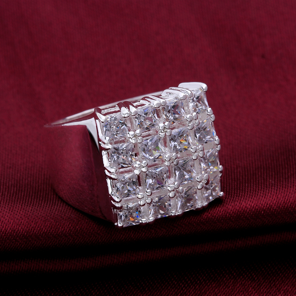 Free shipping hot silver jewelry square zircon stone ladies retro ring to participate in dinner with good jewelry