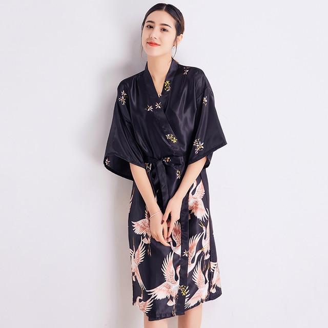New Arrival Chinese Women Nightdress Summer Kimono Bath Gown Sleepwear Printed  Lady Home Dress Nightgown Casual b70edf60f