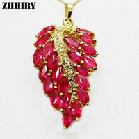 Real Yellow Gold Pendant Natural Ruby Gem Wedding Ncecklace Engagement Fine Jewelry