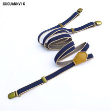 Women Suspenders Clip-Accessories Leather Braces Elastic-Force Wide-Blue Striped Fashion