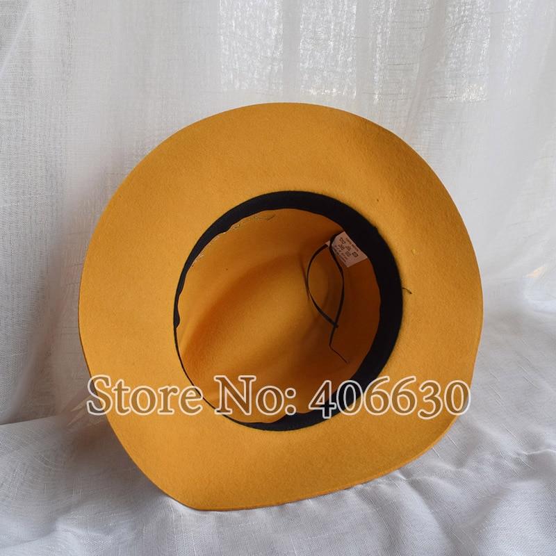 ee703432e Winter Yellow Women Wide Brim Wool Felt Fedora Hats With Letters Chapeu  Feminino Free Shipping SDDW073