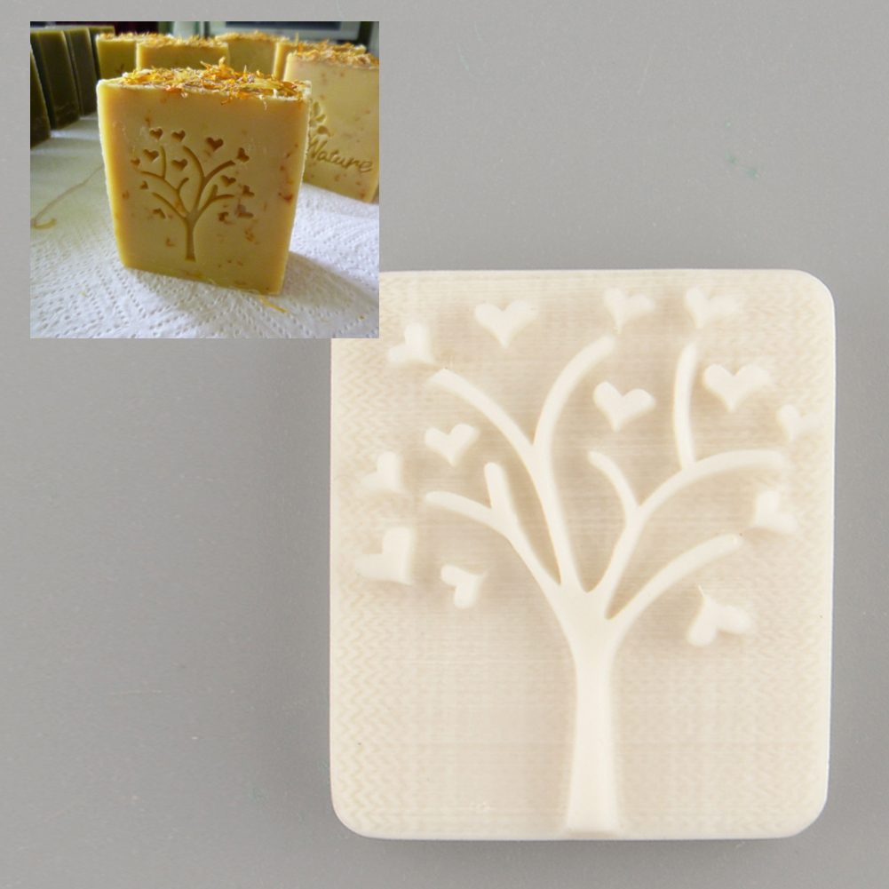 Heart Love Tree Design Handmade Yellow Resin Soap Stamp Stamping Soap Mold Mould DIY Fashion Beautiful