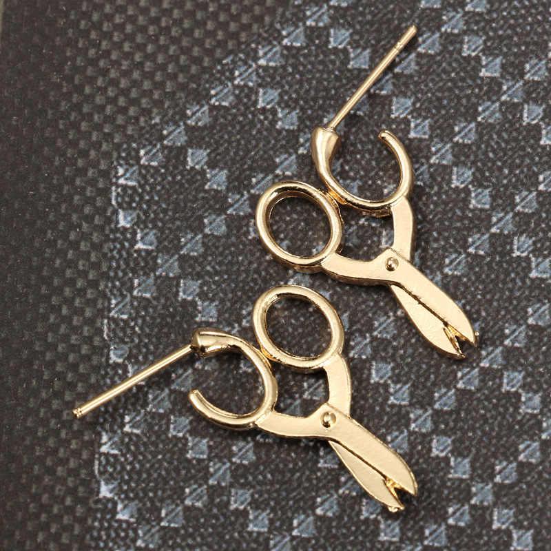 2018 nowy 1 para złoty kolor srebrny nożyczki kształt szpilki kolczyki dla kobiet dziewczyna prezent Tiny kołek metalowy kolczyk kreatywne kolczyki