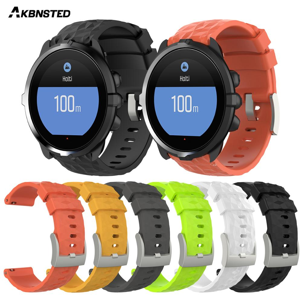 AKBNSTED Replacement Soft Silicone Strap For Suunto 9 / 9 Brao / Spartan Sport HR Baro Smart Wristband Accessories For Sunnto