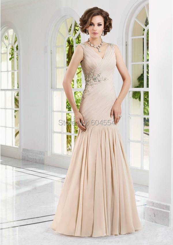 Vestido Mae Da Noiva Custom Made Light Champagne Chiffon Pleat Beading Crystal Long Mother of the Bride Dresses Evening Dress