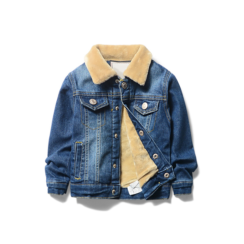 Children Girls Boys Denim Jacket Cashmere 2018 New Children's Clothing Denim Jacket Children's Thick Cotton Denim Jacket 3-8T
