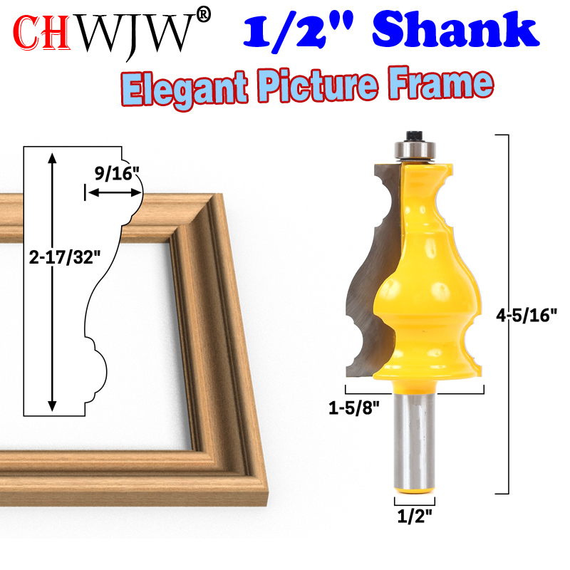 1pc 1/2 Shank Large Elegant Picture Frame Molding Router Bit door knife Woodworking cutter Tenon Cutter for Woodworking Tools 1pcs 8mm shank entry door for long tenons router bit woodworking cutter woodworking bits tenon cutter for woodworking tools