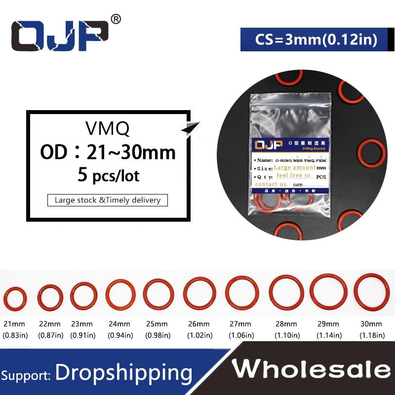 Food Grade Weiß Silikon Gummi O-Ring Dichtungen Sealing Washer Ø3.1mm OD=8~100