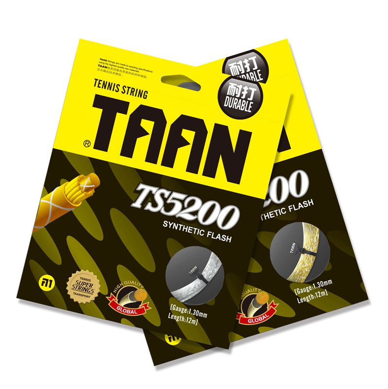 2 Pieces 12M TAAN TS5200 Synthetic Flash Tennis Strings 1.3mm Durable Tennis Racket String