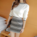 2016 Fashion Women Sweater and Skirt Set Spring Autumn Tops+Short Skirts Slim Long Sleeve Knitted Sweater Suit two pieces set