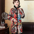 Nova Chegada do Outono Inverno das Mulheres do Chinês Tradicional Cabelo Colarinho Alongar Fina Wadded Jaqueta Casaco L XL XXL