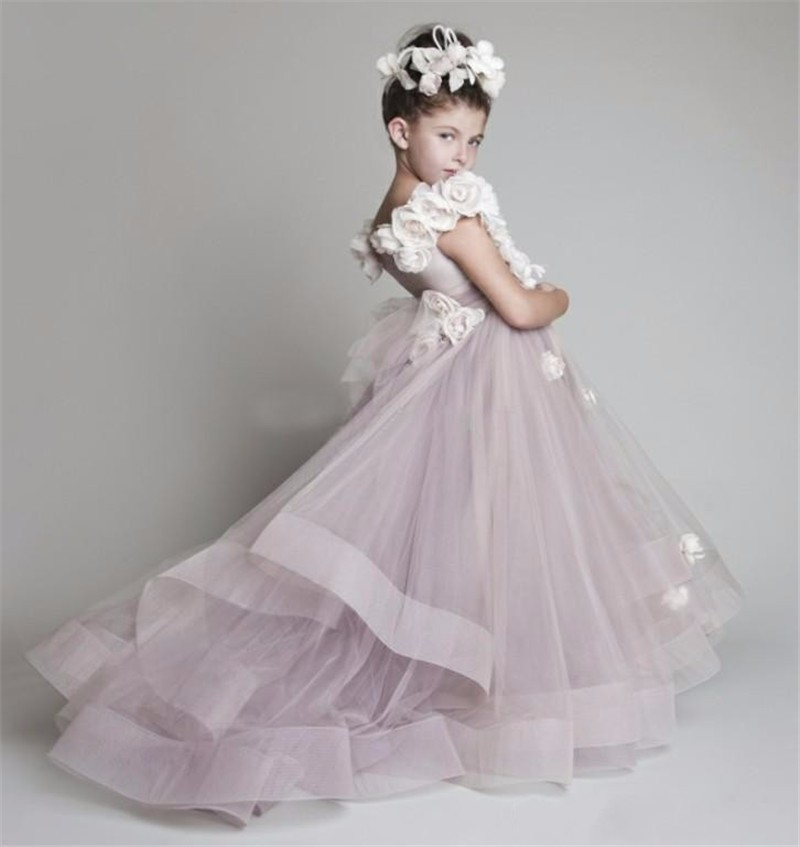 Unique Design Hand Made   Flowers   Decorate Tulle Floor Length   Flower     Girl     Dresses   for Wedding Party Custom Made