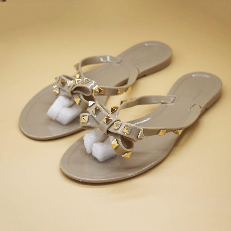 summer fashion women sandals rivet studs flip flops slip on beach slides women sandals Innrech Market.com