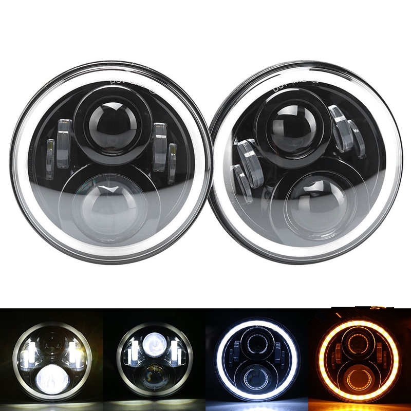 7Inch Round Led Headlight for 97-15 Wrangler with Halo Angel Eye & DRL & Turn Signal Lights for Jeep JK LJ CJ Hummer H1 H2 black chrome 2pcs 7inch round 105w led headlight drl turn signal for jeep wrangler hummer 4x4 4wd suv driving headlamp