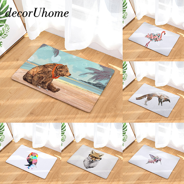 Decoruhome Anti Slip Waterproof Floor Mat Flamingo Fox Owl Kitchen Rugs Bedroom Carpets Decorative Stair