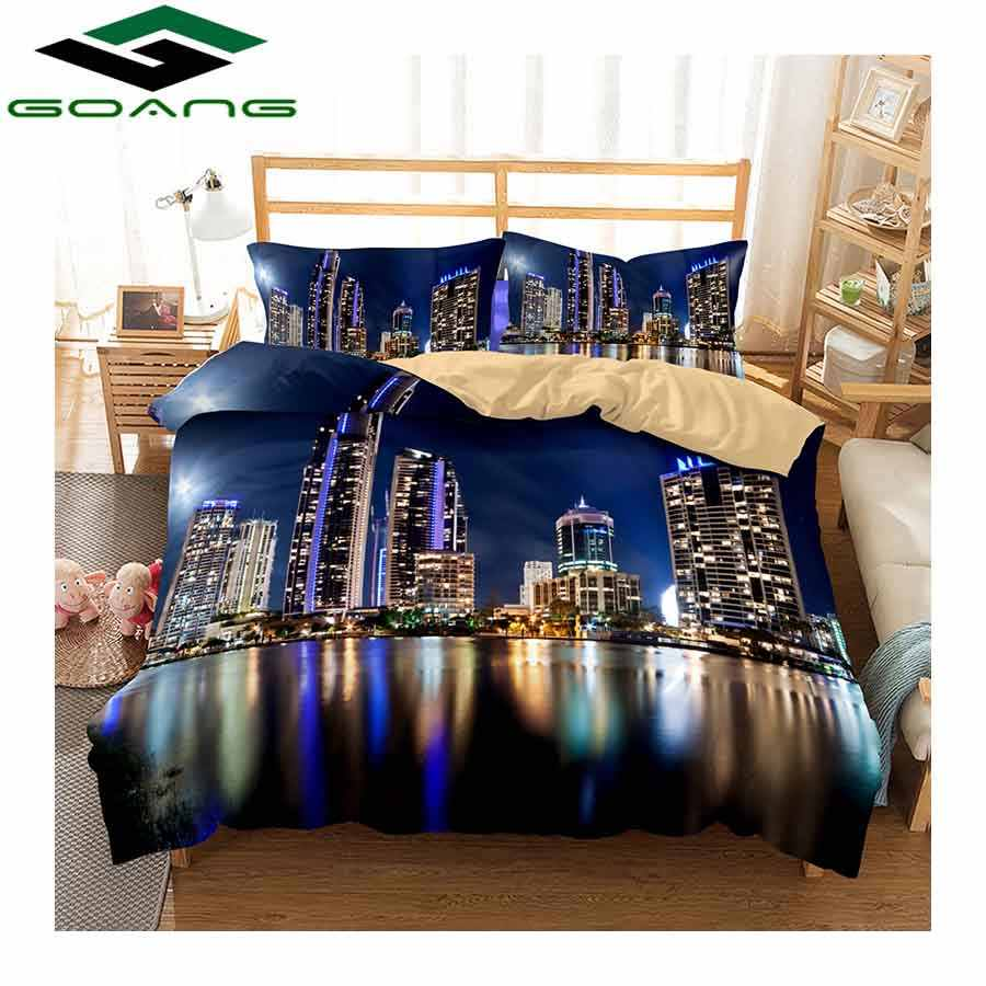GOANG bedding set 3d digital printing Beautiful city night scenery bed linen duvet cover bed cover pillow case 3pcs bedclothes