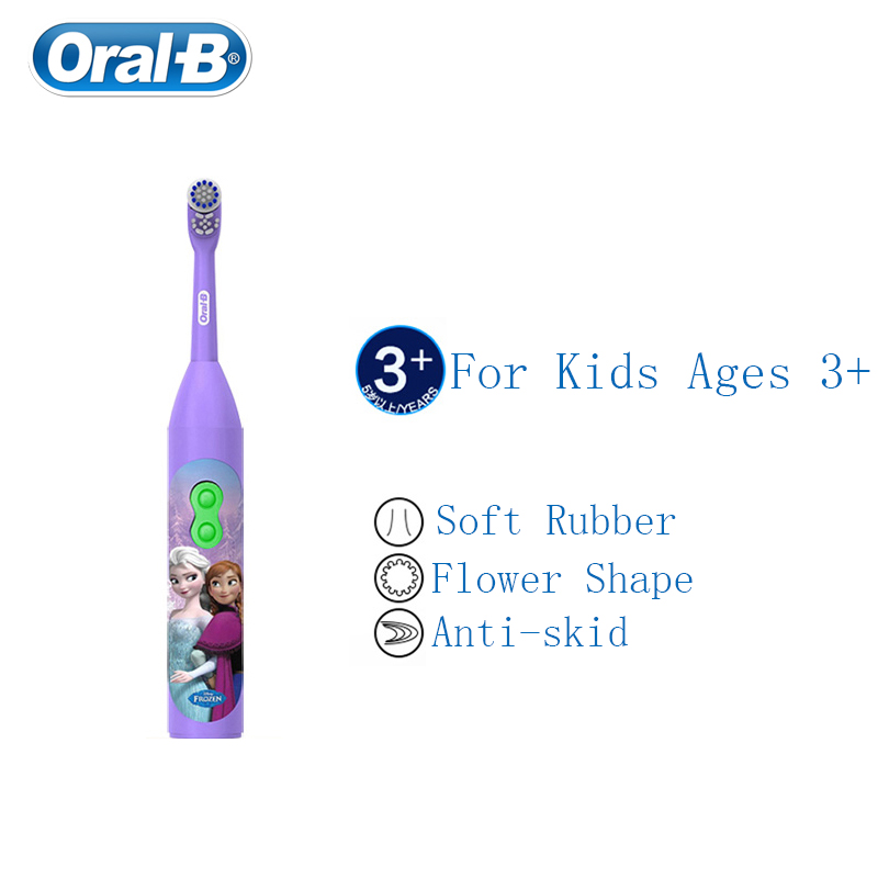 Oral B Children Electric Toothbrush for Kid 3+ Cartoon Design Gum Care Soft Bristle Waterproof AA Battery Powered 1 pc