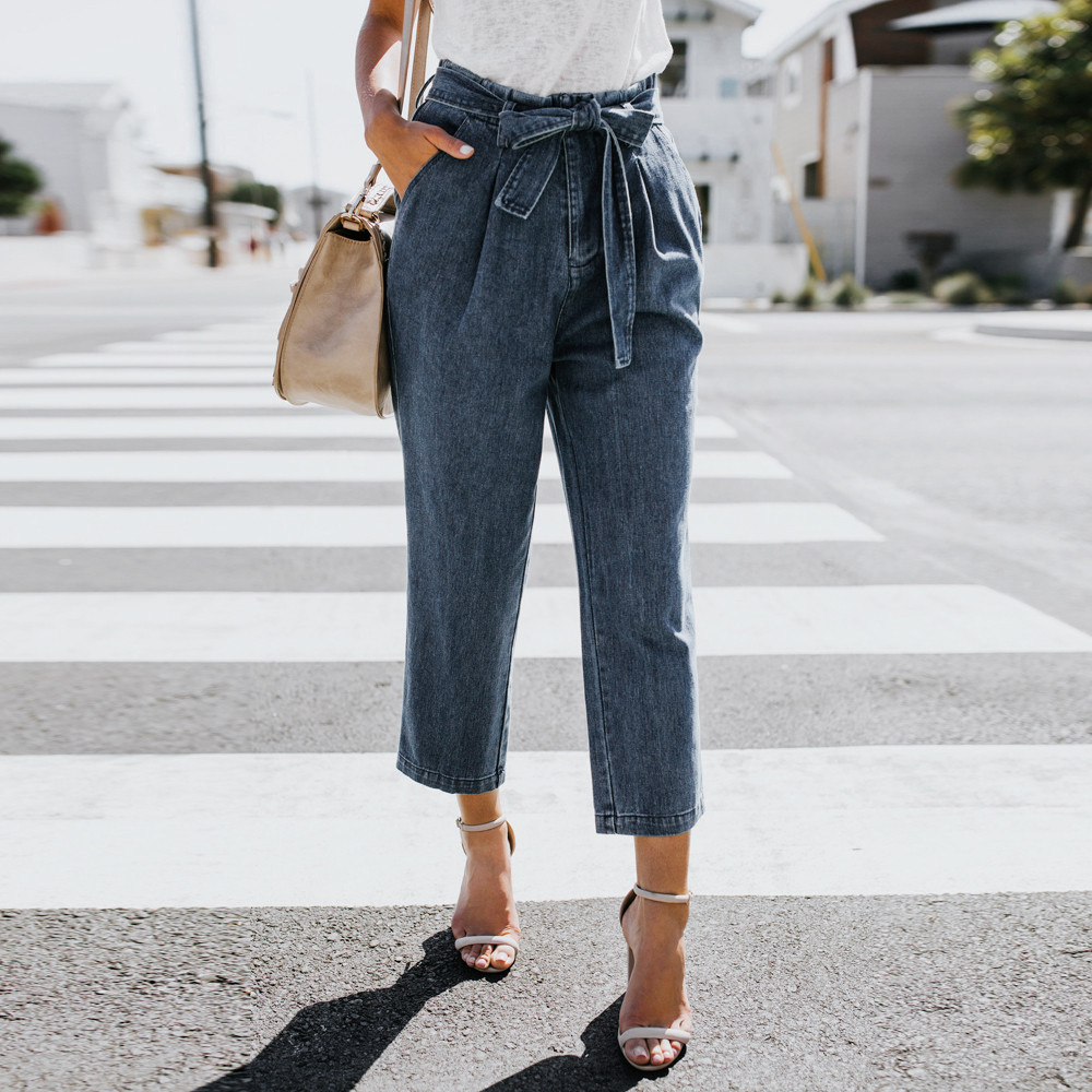 Wide Leg Jeans Pants Women Denim Long Trousers Loose Elastic High Waist Office Lady Slim Pantalones Plus Size Capris Zipper