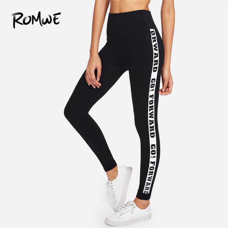 ROMWE Black Letter Slogan Print Side Skinny Bottoms   Leggings   Autumn Women Casual Pants Female Spring Sporty Crop   Leggings