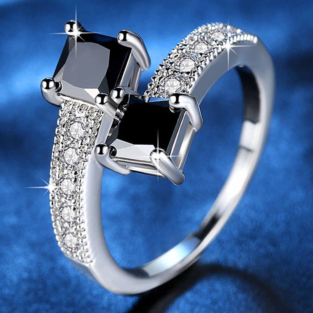 Luxury Starry Star แหวน 10KGF White Gold Filled แหวนแฟชั่นเครื่องประดับนิ้วมือแหวน CZ สีดำ