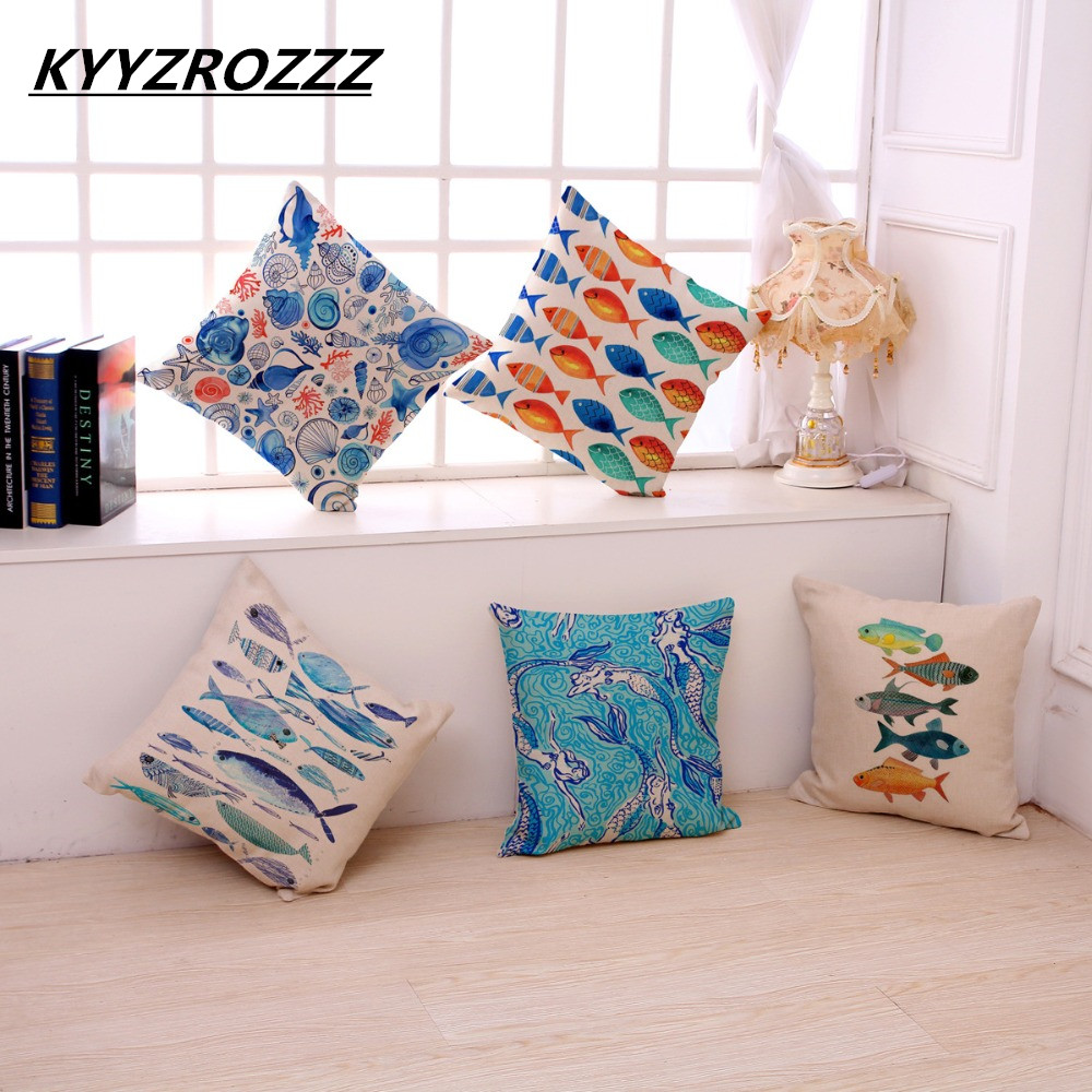 Cotton Linen Tropical Fishes Picture Cushion Covers Ocean Style Coffee House Chair Waist Pillow Case Home Garden Ideal Decor