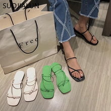 SUOJIALUN Women Slip On Slippers 2019 Trendy Flat Heels Slides Shoes Summer Outdoor Beach Flip Flops Strap Sandals