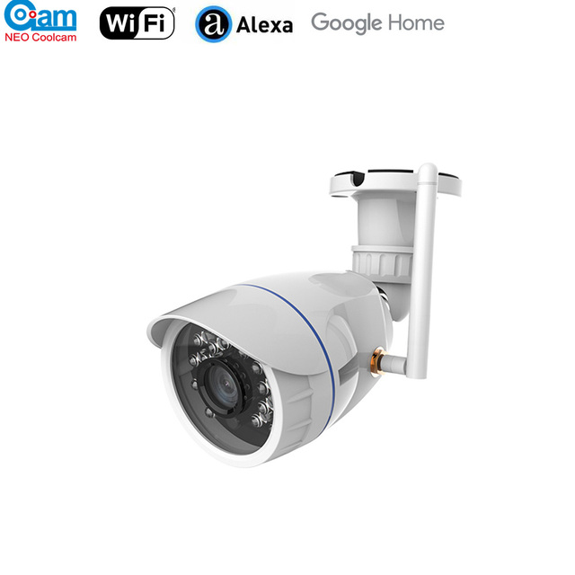 Neo coolcam 야외 방수 와이파이 ip 카메라 무선 hd 720 p 네트워크 나이트 비전 cctv 카메라 알렉사 에코 쇼와 함께 작동
