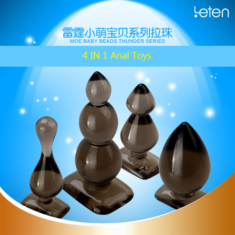 ( 4 Pcs/Lot ) Leten Beginner's Waterproof Anal Toys Butt Plug Stopper Set , Adult Sex Products Sex Toys new anal dildo realistic dildo with strong suction cup fake penis long butt plug anal plug sex toys for women sex products