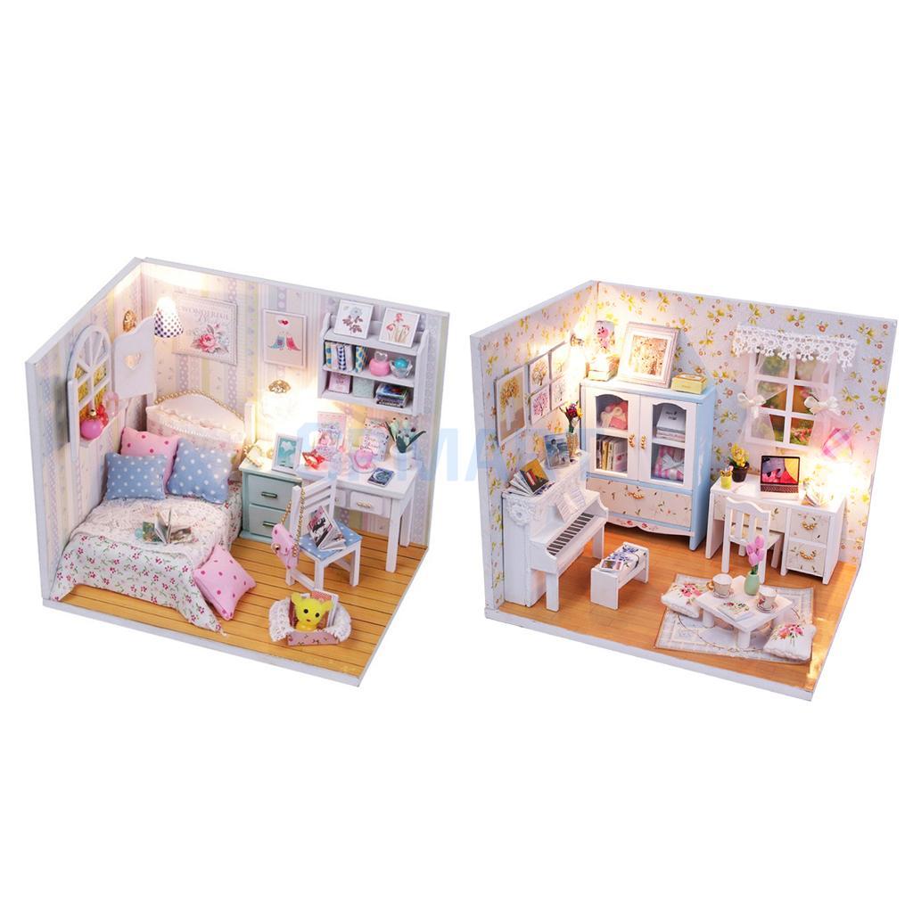 DIY 3D Wooden Handcraft Miniature Doll House Kit Bedroom with LED Lights & Furniture - Adalelles Room & Hemiolas Room