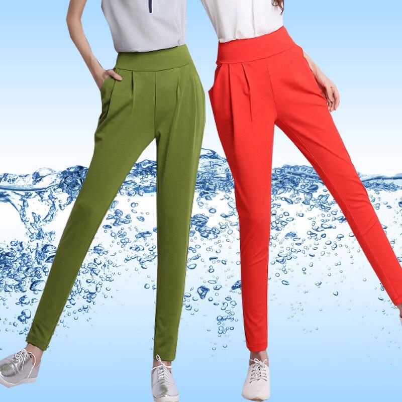 Plus size S-4XL 2016 Summer style high waist elastic harem   pants   women hip hop lienen trousers female loose casual   pants     capris