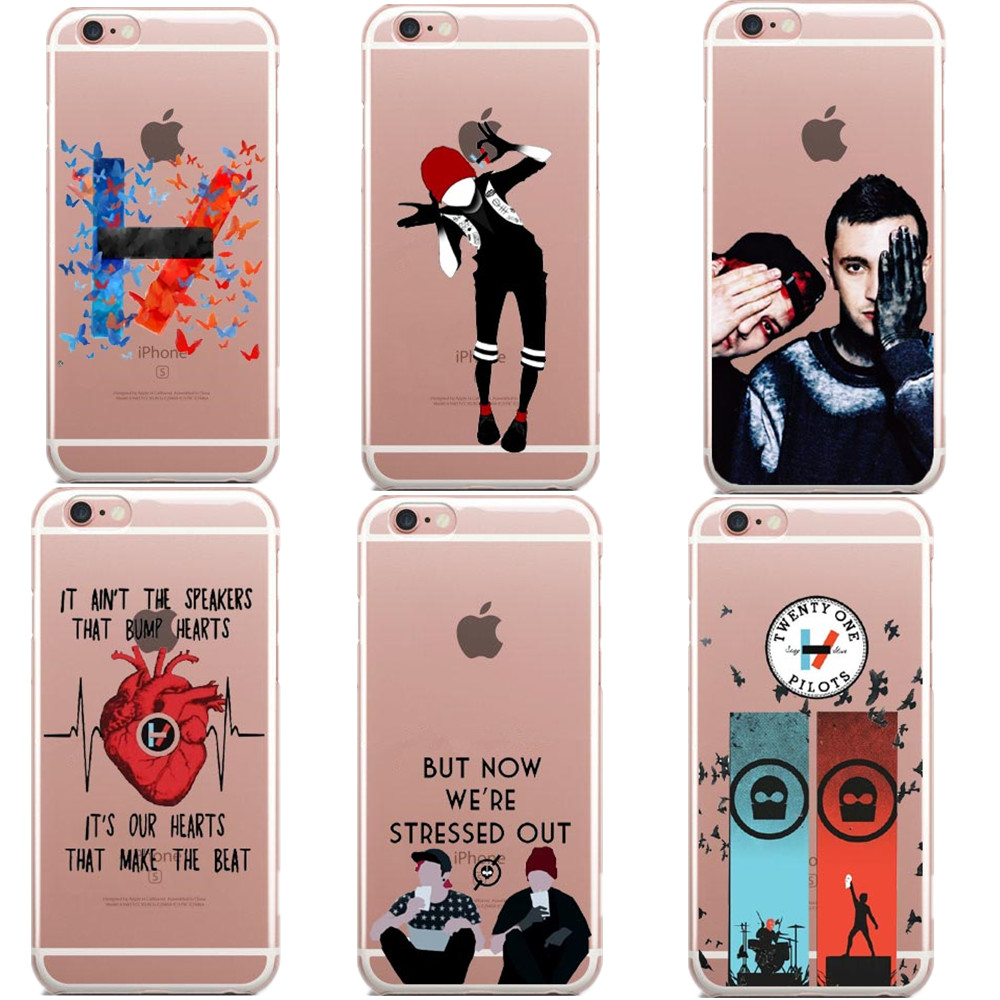 Twenty One Pilots Soft TPU Transparent Silicone Phone Case Cover For iPhone 7 7 Plus 5 5 ...