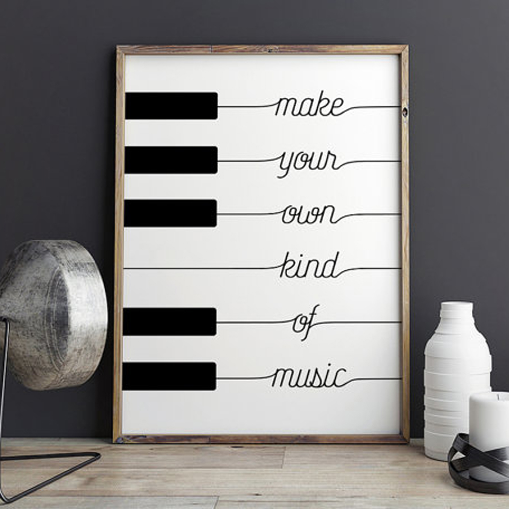 Make Your Own Wall Decor For Nursery : Make your own kind of music black white poster design